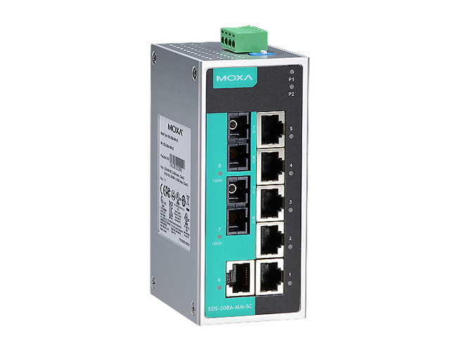 Moxa Eds 208a Mm Sc Unmanaged Ethernet Switch With 6 10