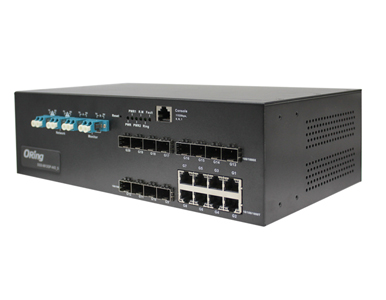 DGS-9812GP-MM-AIO_S - Rugged 8x 10/100/1000TX (RJ-45) + 12x 100/1000 SFP slots with multi mode bypass by Oring Industrial Networking