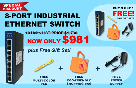 8 Port Industrial Ethernet Switches - Buy 9 Get 1 Free Set - iComTech
