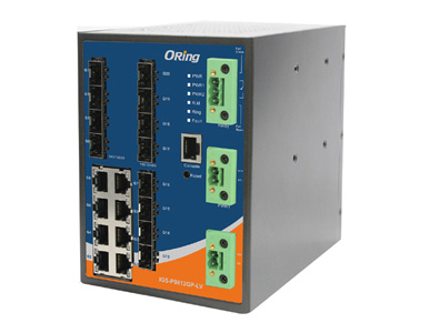 IGS-P9812GP-LV - Industrial 20-port DIN Rail managed Ethernet switch with 8x10/100/1000Base-T(X) and 12xGigabit SFP slots by Oring Industrial Networking
